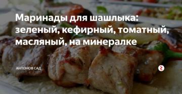 Маринады для шашлыка: зеленый, кефирный, томатный, масляный, на минералке